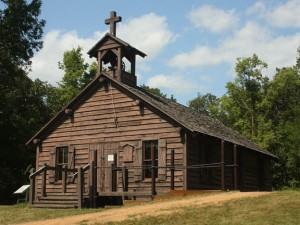 This replica of the mission at Lac Qui Parle is located at Lac Qui Parle State Park in Chippewa County, Minnesota.