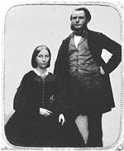 Jane DeBow was six years old when she was brought to Minnesota by Jedediah and Julia Stevens in 1835. She is pictured with her husband, Herman Rice Gibbs, whom she married in 1848.