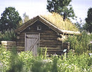 Jane and Herman's home for their first five years was a log dugout with a sod roof. A replica of their 10'x12' home is open to visitors at the Gibbs Farm Museum site.