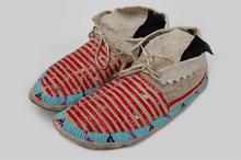 Dakota women at Lac Qui Parle sewed porcupline-quill decorated moccasins like these and donated them to help raise funds to purchase a bell for the chapel at Lac Qui Parle in 1841.