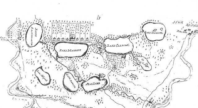 "The map of the area shows the ""Sioux Mission"" on the north shore of Lake Harriet. Cordelia and Samuel lived in a small room above the schoolroom in the early months of their marriage."