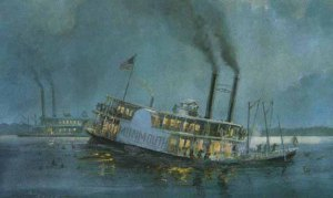 The steamships that brought Mary and Stephen to Minnesota were similar to the one pictured here. The Monmouth's tragic journey from New Orleans to the Red River ended on October 31, 1837. She carried 700 Creek Indians, 300 of whom drowned in the Mississippi River. In the 1830s some 18,000 Creeks were moved from Georgia and Alabama to the west. The image is a watercolor painted by Paul Bender in 1998.