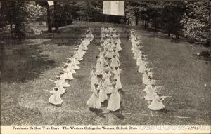 "Isabella, Martha and Anna Jane all attended Western Female Seminary in Oxford, Ohio. In this undated photo, the freshman class is participating in what is called ""a drill  on 'Tree Day.' "" All three of the girls also returned to Hazlewood and taught Dakota students in the boarding school."