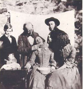 This 1855 photo portrays the trauma and fear that patients experienced when dentistry was practiced without any effort to ease pain or discomfort.