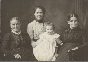 This four-generation picture includes, left to right: Agnes; Fanny Wilson Pond (Agnes' granddaughter); Fanny's daughter, Margaret Olive Williamson, born on July 13, 1899; and Mary Frances Hopkins, Agnes' oldest daughter, Fanny's mother and Margaret's grandmother.