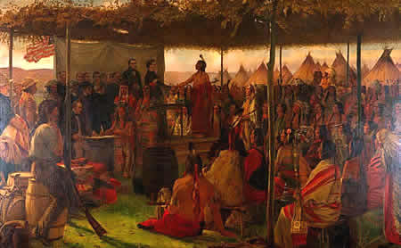The signing of the 1851 Treaty at Traverse des Sioux resulted in the Dakota being removed to reservations in western Minnesota and ceding all of their land along the Mississippi River.