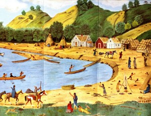 Fred Lawshe, founder of the Dakota County Historical Society in South St. Paul, Minnesota, painted this version of the Kaposia village as he imagined it might have looked in about 1850.