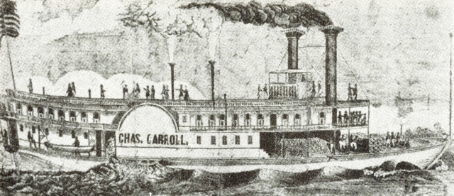 This image of the steamboat Charles Carroll from the Historical and Philosophical Society of Ohio, portrays a typical steam boat from 1846. This is the kind of ship that brought Harriet Bishop to Kaposia. Dozens of travelers passed the village of Kaposia on similar ships, gawking at the Dakota as they headed for St. Paul.