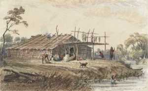 Eastman also painted one of the more permanent structures that the Dakota used at Kaposia. Made from bark and wood posts, the structures were used during the summer months.