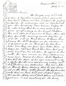 Jane wrote to her cousin Elizabeth over the course of their lives. This letter, from 1851, is typical of Jane's handwriting. It is not unusual for the letters to included added comments in the margins because paper was precious. Some writers even turned the page upside down and wrote in a new direction between the lines.