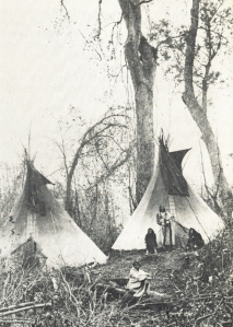 "While on winter hunts, the Dakota used portable houses made of deer skins that we know as ""teepees."" Most images of Kaposia include both teepees and bark houses."