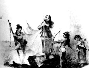 "Artist Seth Eastman painted this picture of some of the children at Kaposia in about 1850. It is obviously a romanticized version of what was seen to be the ideal childhood of the children of the ""noble savage."""